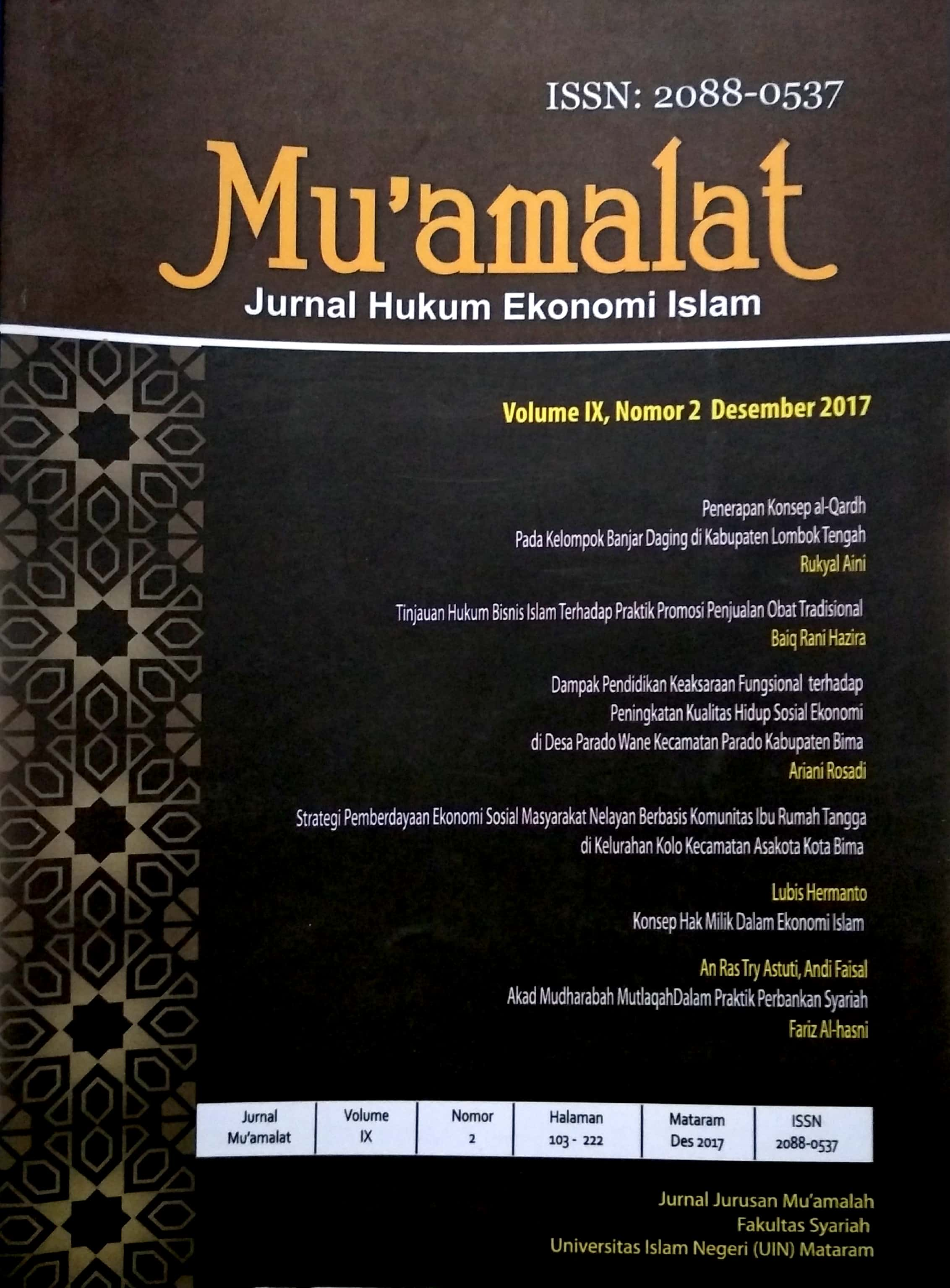 Tinjauan Hukum Bisnis Islam Terhadap Praktik Promosi Penjualan Obat Tradisional Mu Amalat Jurnal Kajian Hukum Ekonomi Syariah